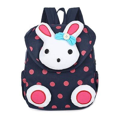 FRISTONE Lapin mignon Sac à dos école Maternelle Enfant Bébé Filles Sac Garçons Kindergarten Backpack Toddler,Bleu foncé