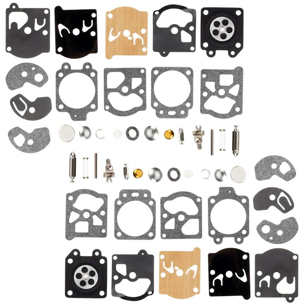 QAZAKY 2pc Carburetor Diaphragm Gasket Rebuild Repair Kit for Walbro K10-WAT WA WT Series Carb 2-cycle String Trimmers Blowers Chainsaw Poulan Weedeater Ryobi Homelite Lawnboy Toro Stihl