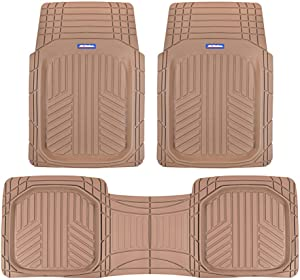 ACDelco ACOF-933-BG Beige Deep Dish All-Climate Rubber Floor Mats for Car SUV Van Truck Heavy Duty Liners-3 Piece Set Thick, Odorless & All Weather