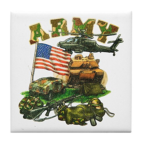 Tile Coaster (Set 4) Camouflage US Army Helicopter Tank