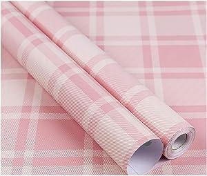 GLOW4U Plaid Pattern Vinyl Contact Paper Self Adhesive Shelf Drawer Liner for Kitchen Cabinets Backsplash Countetop (Pink, 24