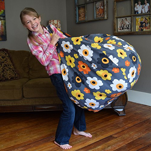 with mk extra large stuffed animal storage bean bag chair premium cotton canvas clean up. Black Bedroom Furniture Sets. Home Design Ideas