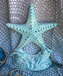 (Ship from USA) Cast Iron Starfish Doorstop Aqua Blue Door Stop Nautical Beach Sea Decor *JPOU842H5ET12809