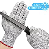 Kuelor Stretchy Cut Resistant Gloves-Level 5 Protection, Food Grade, Safty Gloves for Hand Protection and Yard-work, Kitchen Glove for Cutting and Slicing (Small)