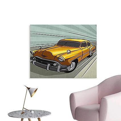 Amazon Com Anzhutwelve Cars Photographic Wallpaper Speeding Yellow