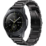 GOSETH compatible Samsung Galaxy Watch 42mm Strap,Solid Stainless Steel Metal Business Replacement Band with double button butterfly clasp for Samsung Galaxy SM-R810/SM-R815 Fitness Smart Watch-Black
