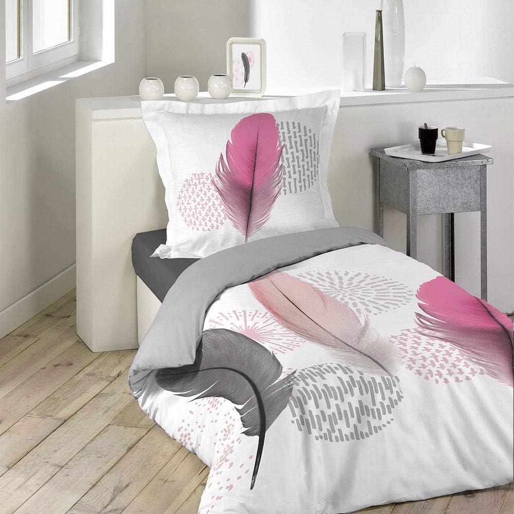 Pink dream Housse de Couette taie 140 x 200 cm plumes l/ég/ères