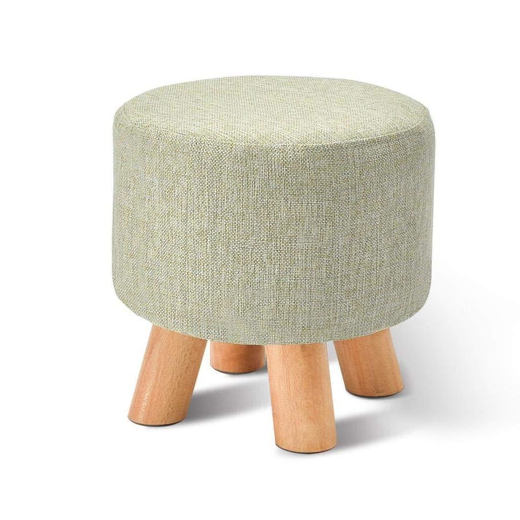 CS-JZ Shoe Stool, Washable Linen Seat Cushion Round Footstool, Wooden 4 Legs Round Dustproof, Bearing Gravity 100KG 29X29X27CM by CS-JZ