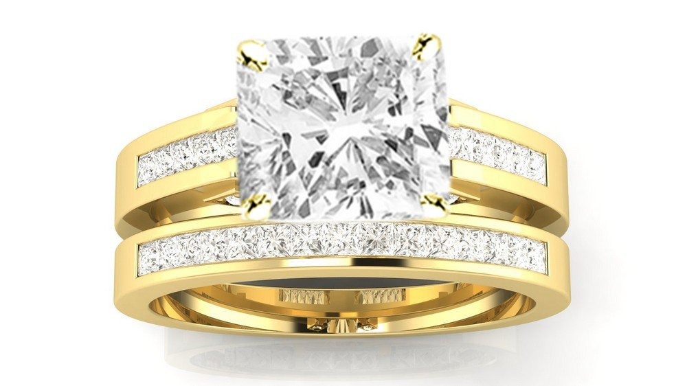 1.7 Cttw 14K Yellow Gold Cushion Cut Channel Set Princess Cut Bridal Set Diamond Engagement Ring Wedding Band with a 1 Carat J-K Color I2 Clarity Center