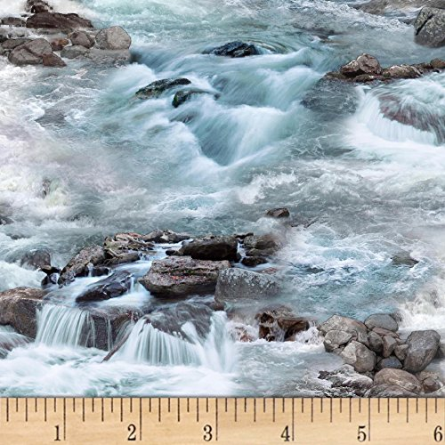 - Elizabeth's Studio Landscape Medley Waterfalls Blue Fabric by The Yard