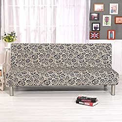 "DIFEN Futon Slipcover Sofa Bed Cover Solid Color Full Folding Elastic Armless 80 x 50 inch, Lightweight Stretch Furniture Protector (Pattern-C:80"" x 50"")"
