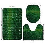 3 Piece Bathroom Mat Set,Green,Abstract Lights Square Pixel Mosaic Design Geometric Technology Theme Digital Grid Print,Green,Bath Mat,Bathroom Carpet Rug,Non-Slip