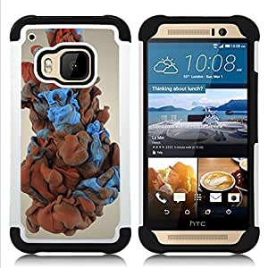 """HTC One M9 /M9s / One Hima - 3 en 1 impreso colorido de Altas Prestaciones PC Funda chaqueta Negro cubierta gel silicona suave (Humo del color"""")"""