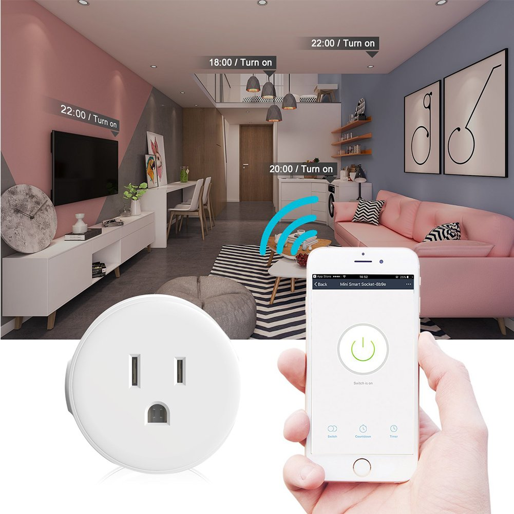 Awkli Mini Smart Plug Outlet, 2 Pack WiFi Enabled Mini Smart Socket Works with Alexa Google Assistant, App Remote Control from Anywhere, Timer Switch, No Hub Required , White (2 Packs)