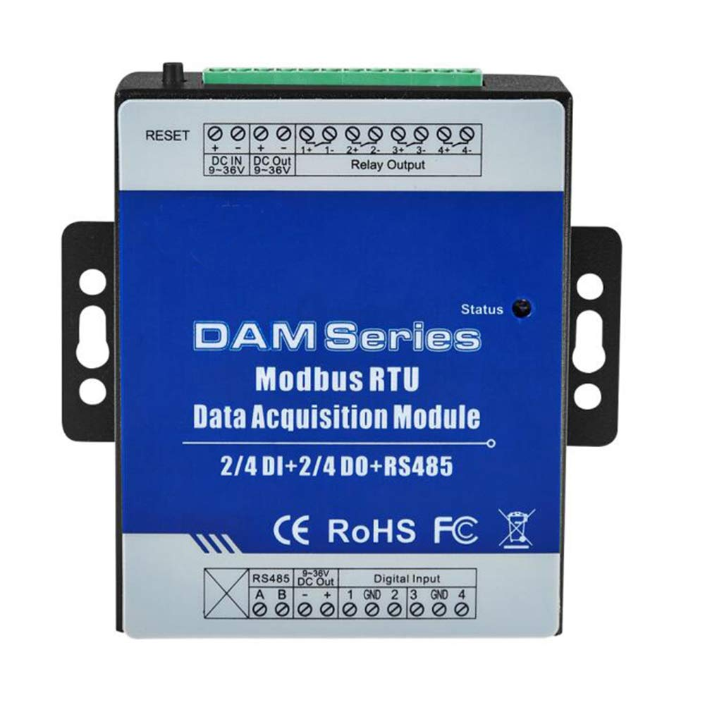Modbus RTU Digital inputs Module 4 Channel IO Ports Compatible NC/NO/Pulse Counter/TTL with RS485 Port