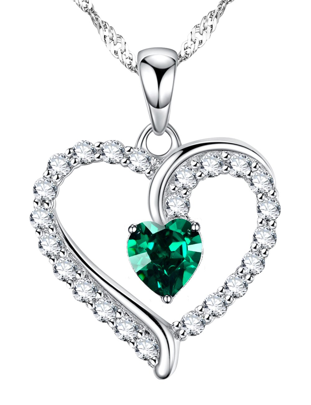 Love Heart Jewelry Gifts for Wife for Women Created Green Emerald Pendant Necklace Birthday Anniversary Gifts for Her for Daughter for Girlfriend Sterling Silver Charm,18''+2'' Changeable Chain