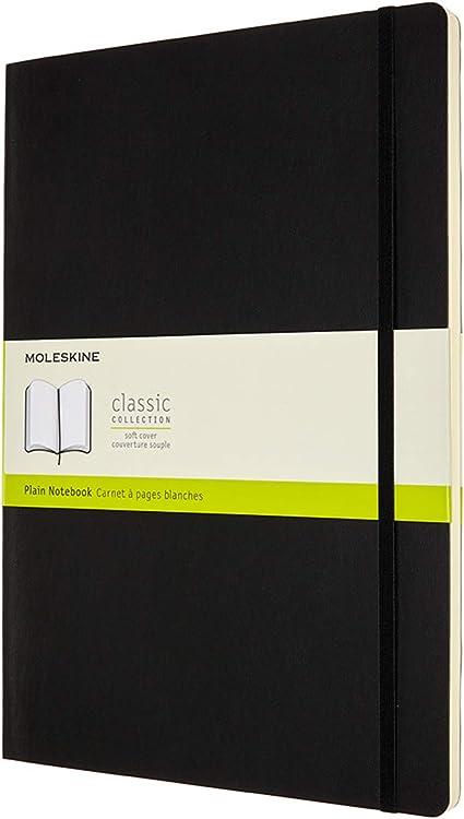 192 Pagine Dimensione A4 21 x 29.7 cm Taccuino con Copertina Morbida e Chiusura ad Elastico Moleskine Classic Notebook con Pagine Bianche Nero