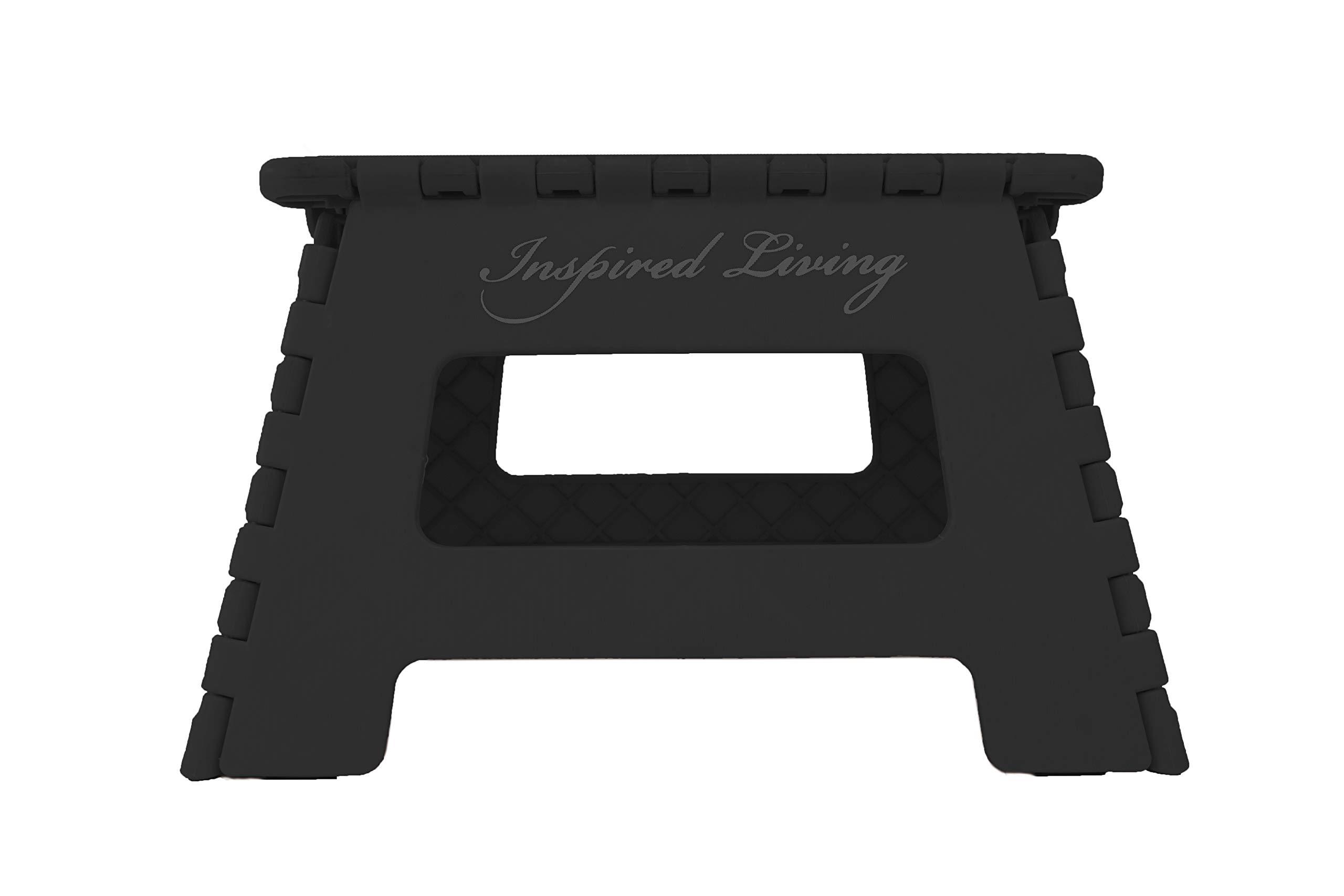 Inspired Living Folding Heavy Duty Step Stool in Black - (9'' High)