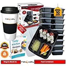Meal Prep Containers - 32oz with BONUS Mug & Tasty Kitchen Recipes eBook! 3-Compartment Microwave Safe Food Containers with Lids/divided Plate/bento Box/lunch Tray with Cover/Black Bottom with Clear Cover Microwaveable, Freezer & Dishwasher Safe, Leak Proof, 30 Ounce Set 10 Pack