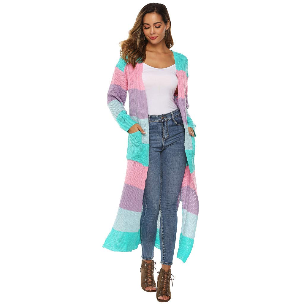 Ultramall Women Long Sleeve Open Cape Casual Coat Blouse Kimono Jacket Cardigan Blue