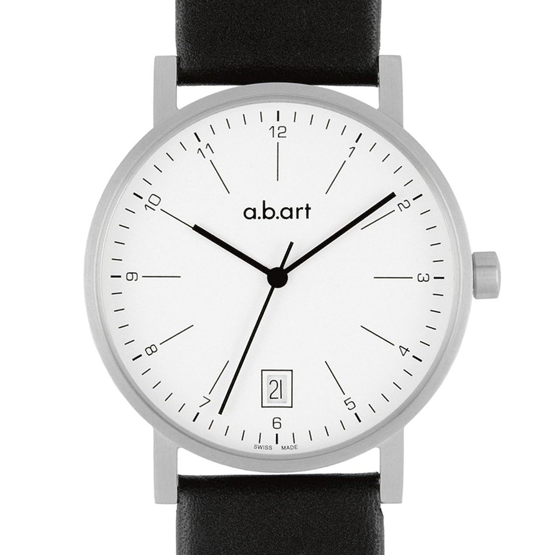 a.b.art Herren-Armbanduhr O103 Analog Leder schwarz O103