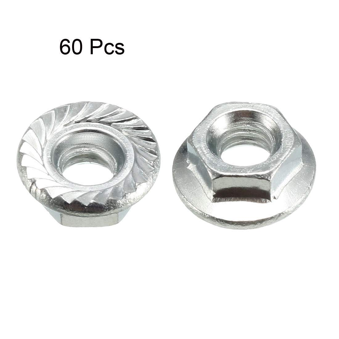 60 Pieces Carbon Steel M4 Toothed Flange Hexagonal Safety Nuts