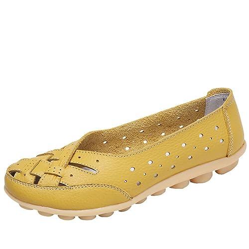 Mocasines de Cuero Mujer Loafers Casual Zapatos de Conducción Cómodos Zapatillas del Barco Elegante y Encantador: Amazon.es: Zapatos y complementos