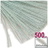 The Crafts Outlet Chenille Sparkly Stems, Pipe Cleaner, 20-in (50-cm), 500-pc, Clear