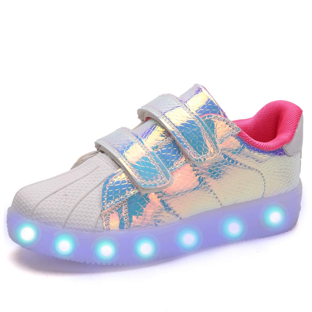 adituo LED Light Up Walking Shoes USB Rechargeable Luminous Fashion Sneakers for Kids Boys Girls (Toddler/Little Kid/Big Kid) Red 32