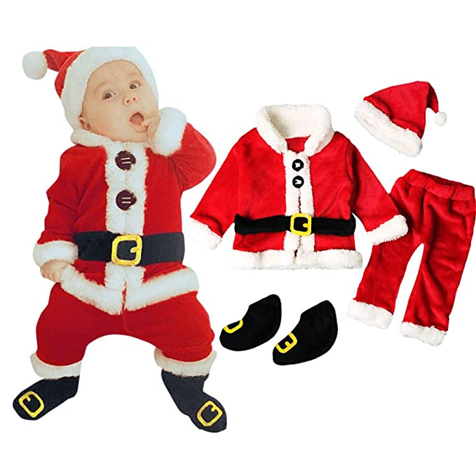 Amazon.com: Clearance! Baby Boys Girls Xmas Outfit Infant Newborn My First Christmas Outfit Santa Clothes 4Pcs/set: Clothing