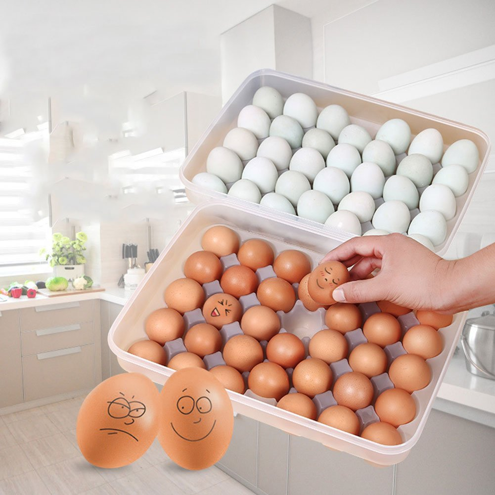 Shuohu Egg Tray for Refrigerator, 34 Eggs Tray Holder with Lid, Portable Shatter-Proof Covered Egg Container