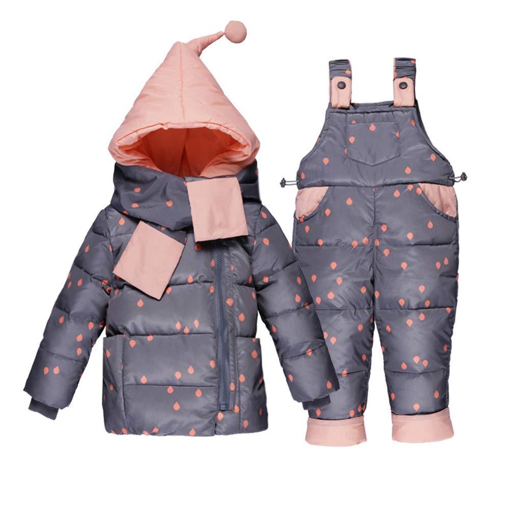 LSERVER Baby Girl Boy 2 pz Snowsuit Bambino Inverno Caldo con Cappuccio Pelliccia Trim Puffer Giù Cappotto + Tute Set Outfit