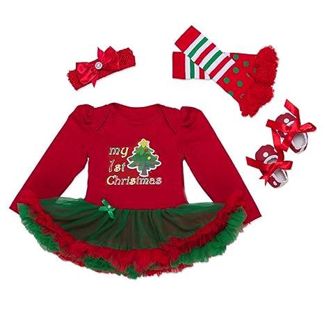 a615465503631 Bébé Fille Vêtements Noël Coton à Manches Longues Barboteuse + Bandeaux +  Collant + Chaussures 4pcs