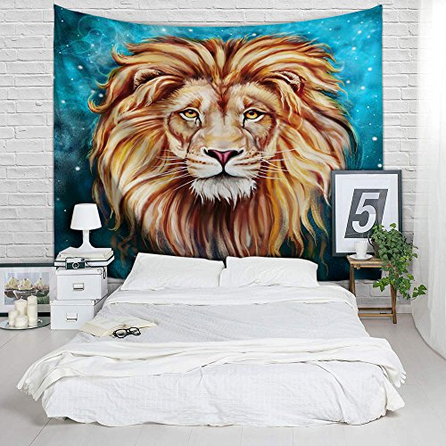African Lion Tapestry - Vivid 3D Print College Dorm Room Decor Accessories Animal Wall Hanging Watercolor Wildlife Backdrop Yoga Mat Table Cloth Bed Cover - Queen Size, 80 x 60 (Hippie Room Accessories)
