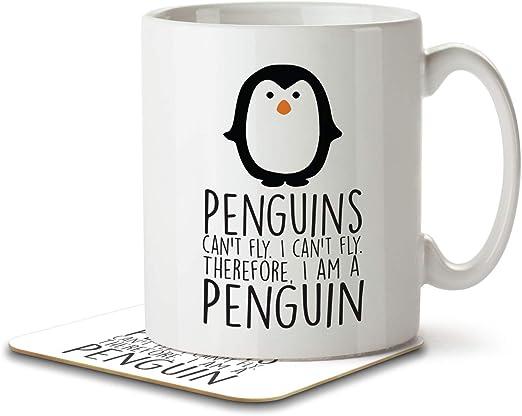 Los pingüinos no pueden volar. No puedo volar. Taza y posavasos de Inky Penguin con texto en inglés