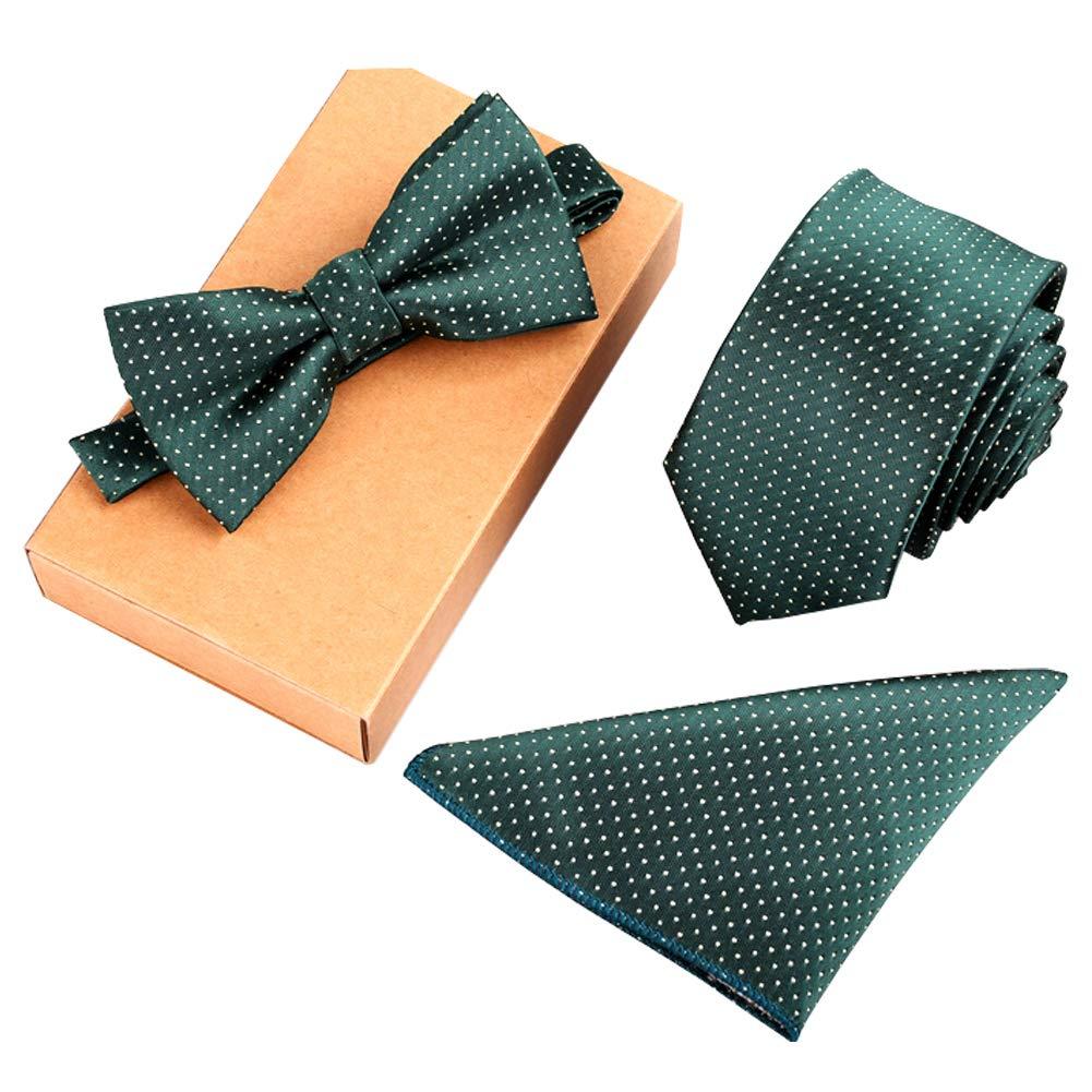 Lanburch Fashionable Premium Formal/Informal Ties Set, Necktie/Bow Tie/Pocket Square for Mens/Boys, Dark Green Dots