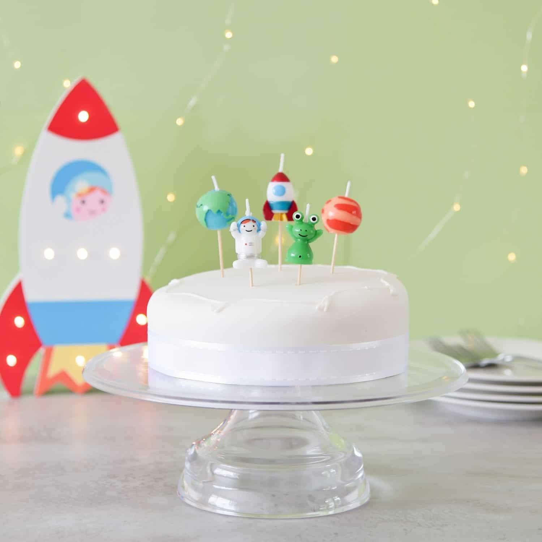 Weltraum Geburtstag Kuchen Kerzen Smiling Faces SFCSPACE