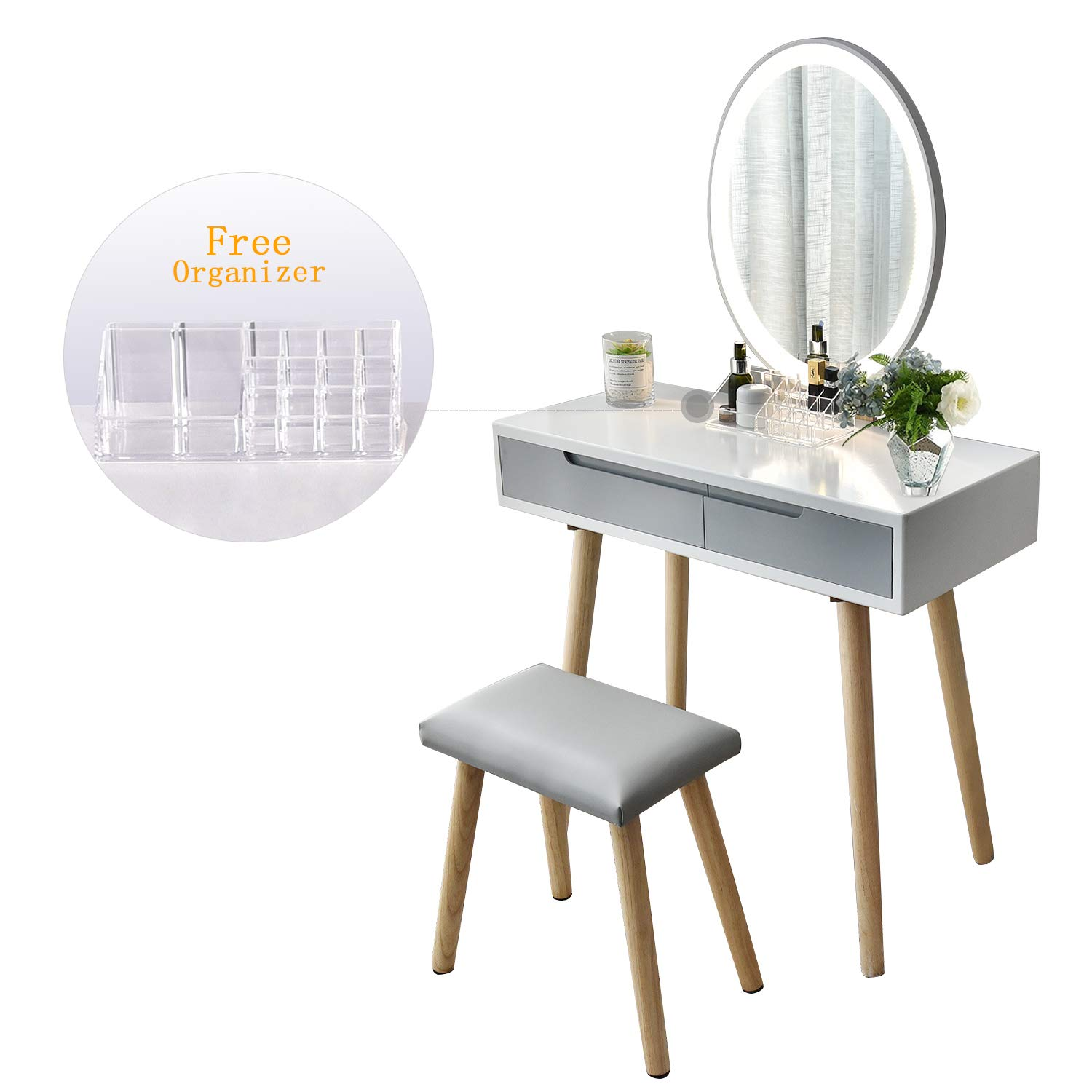 Vanity Table Set with Adjustable Brightness Mirror and Cushioned Stool, Dressing Table Vanity Makeup Table with Free Make-up Organizer by YOURLITEAMZ