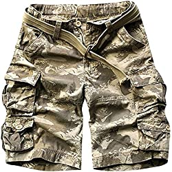 LETSQK Men's Multi-Pocket Camouflage Dungarees Belted Cargo Shorts Wave Large