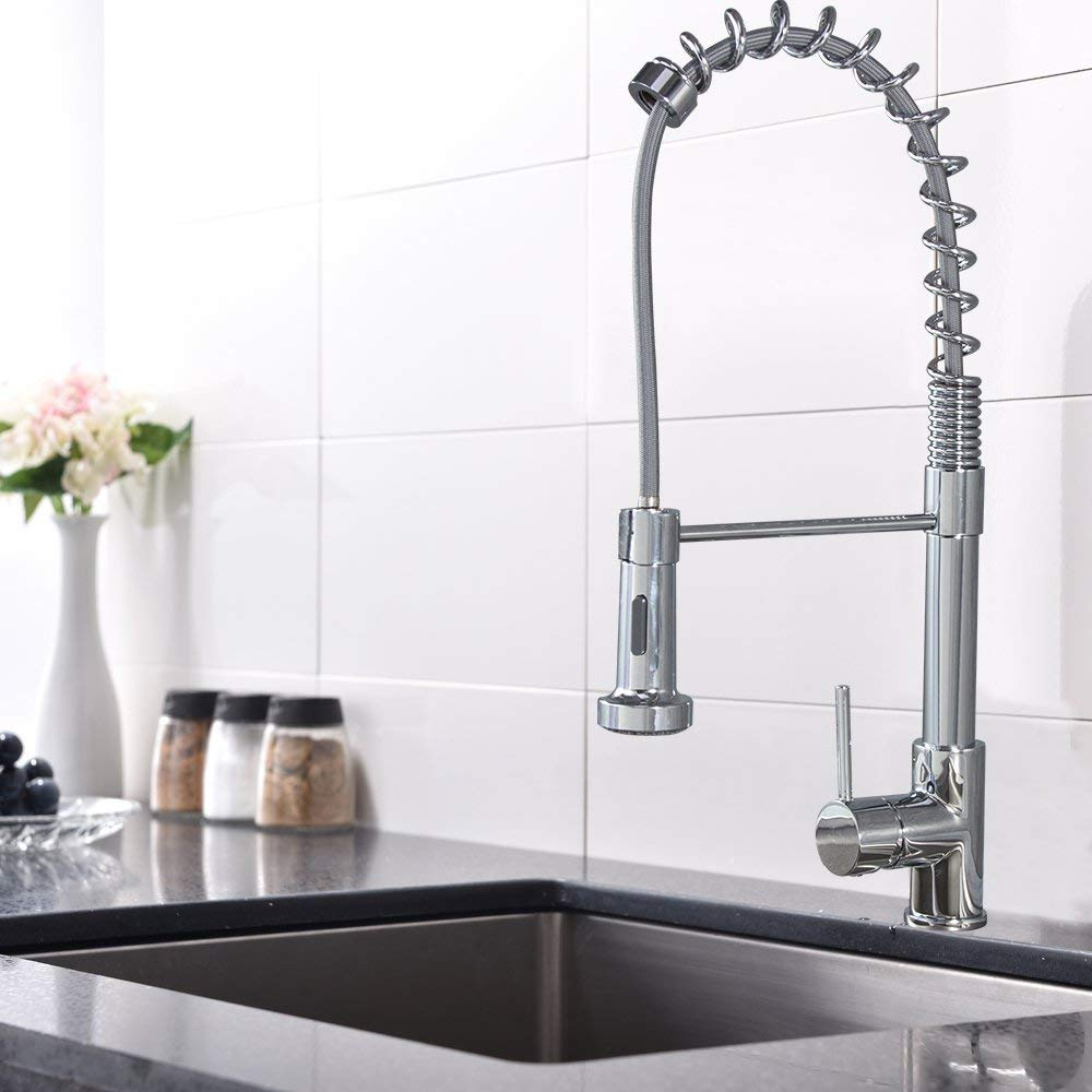 Micoe H-HC109 Pull Out Single Handle Kitchen Faucet with Sprayer Kitchen Sink Faucets without Deck Plate by micoe