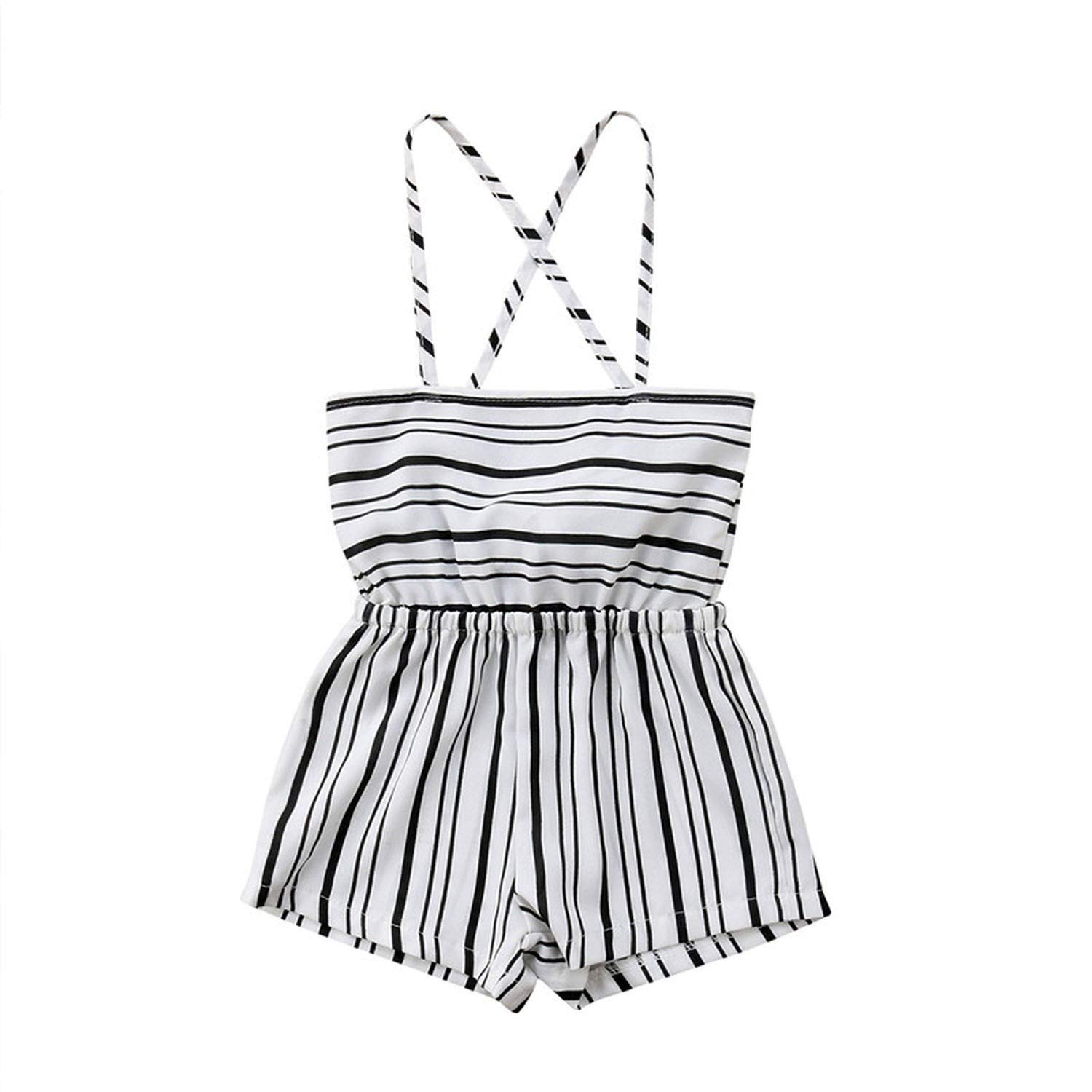 V-A-O-L Boho Style Striped Sleeveless Romper Suspender Jumpsuit Outfits