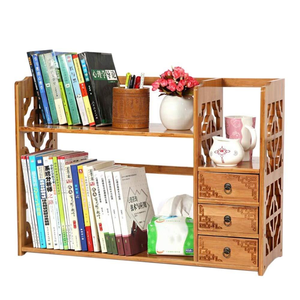 19.689.8419.68in JCAFA Shelves Desktop Bookshelf Storage Rack Bamboo Desktop Manager Office Wooden Display Stand Openwork Window with Drawers, 3 Sizes (Size   19.68  9.84  19.68in)