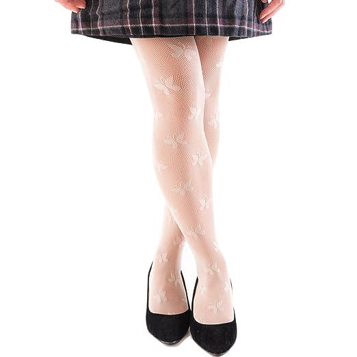 3483c089efdac FUN fun Lace fishnet tights(Butterfly pattern) for Girls Beige 57-65inch
