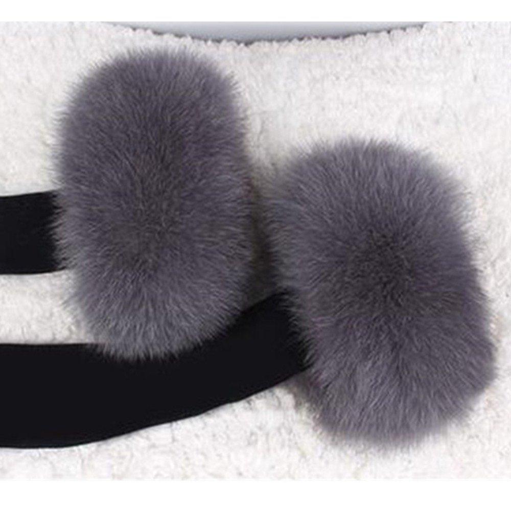 GEGEFUR Women's Winter real fox Fur Short Wrist Cuff Warmers (3016CM, grey)
