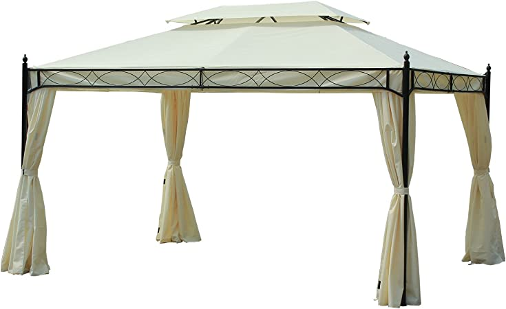 Outsunny Carpa 3x4m Pabellon Cenador de Jardin Blanca con Cortinas ...