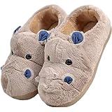LANFIRE Pantofole di Cotone per Bambini e Adulti Hippo Home Pantofole Pantofole di Peluche Pantofole di Animali Pantofole di Cartone