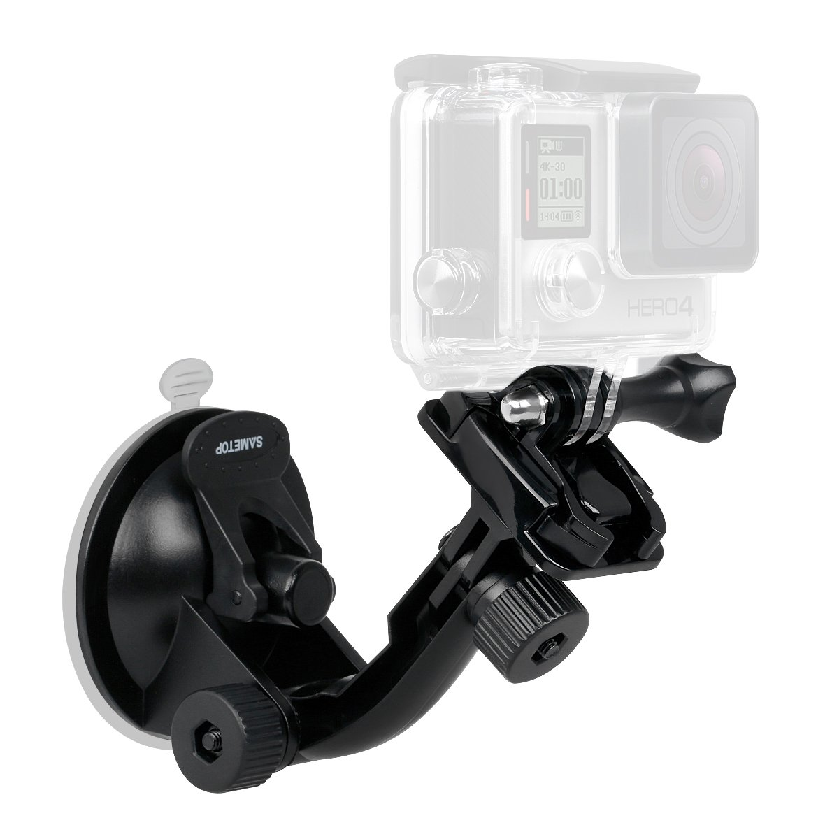 Sametop Suction Cup Mount Compatible with Gopro Hero (2018), Fusion, Hero 7, 6, 5, 4, Session, 3+, 3, 2, 1 Cameras; Perfect for Car Windshield and Window
