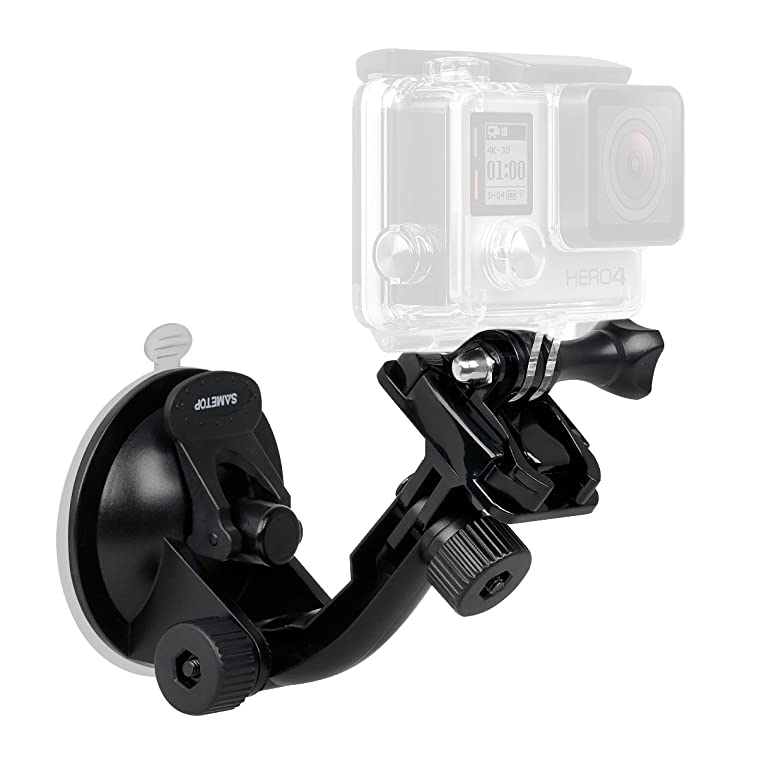 Sametop Suction Cup Mount for Gopro Hero 6, 5, 4, Session, 3+, 3, 2, 1 Cameras; Perfect for Car Windshield and Window