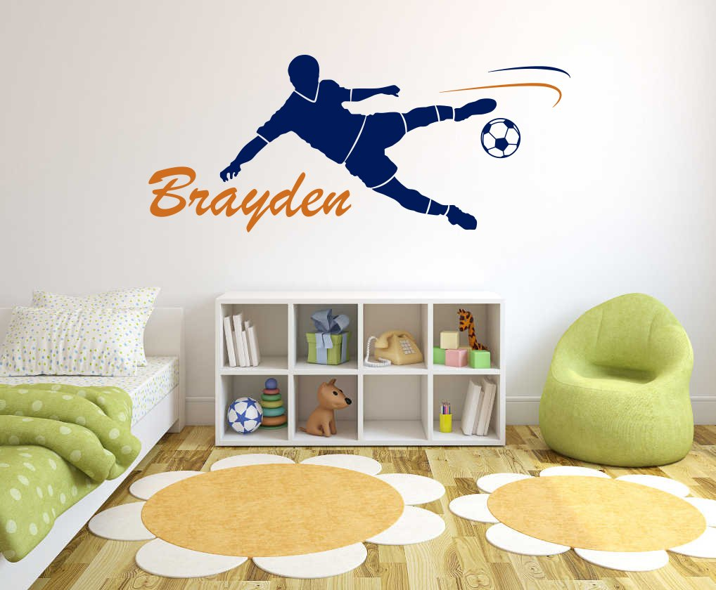 Custom Name Soccer player - Soccer - Wall Decal For Home Nursery Decoration (Wide 50''x22'' Height Inches)