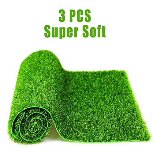 DR.DUDU 3 PCS Life-like Fairy Artificial Grass Lawns Grass Mats Miniature Ornament Garden Dollhouse, 12''x12'' by DR.DUDU
